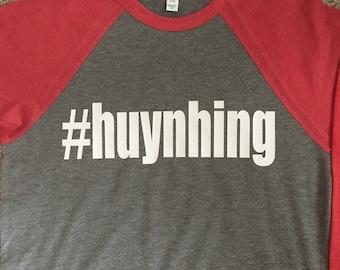custom hashtag 3/4 sleeve shirt