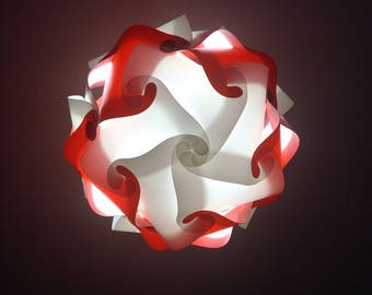 Sphere red and white lamp fixture puzzle