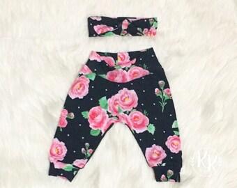 Floral Newborn Set, Girls Newborn Set, Coming Home Outfit, Roses Newborn Set, Pants and headband Set, Personalized Set