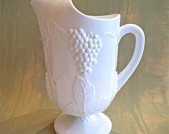 Vintage Mid Century Indiana Glass Colony Harvest Milk Glass Pitcher