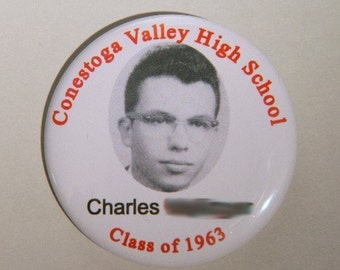 "Reunion or Party Pin back button - OR Design your own 2.25"" - High school Class reunion name tag -  College reunion name tags"