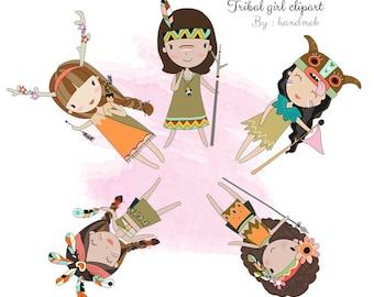 Tribal girl , girl Clipart Instant Download PNG file - 300 dpi