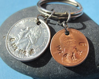 Personalized Custom Two Coin Necklace or Key Chain - Hand Stamped USA Coin Charm