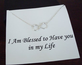 Love Infinity Charm Silver Bracelet ~~Personalized Jewelry Card for Best Friend, Sister, Mom, Step Mom, Bridal Party, Cousin, Graduation