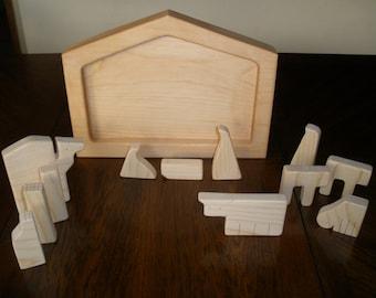Pine Nativity Puzzle Solid Wood  13 piece Handmade