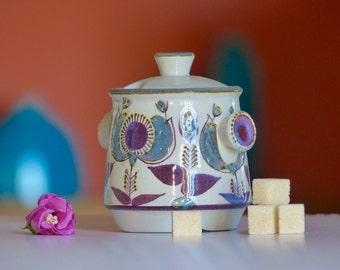 Ceramic faience blue Scandinavian vintage - sugar - Midcentury sugar bowl - Danish sugar bowl
