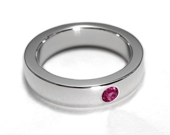 Sterling Silver Ruby Band - Sterling Ruby Band, Sterling Silver Ruby Ring, Sterling Silver Ruby Wedding Band, Ruby Band, Ruby Wedding Band