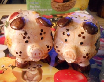 Vintage Decorative Pigs Salt and Pepper Shakers