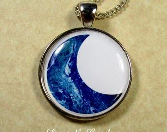 Blue Moon Pendant, Crescent Moon Necklace, Blue Moon Jewelry, Crescent Moon Gifts, Blue Moon Gifts, Jewelry with Moon, Pendant with Moon