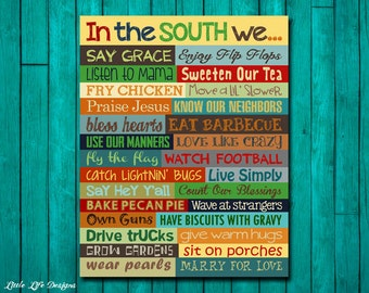 Southern Sayings. Hey Y'all. Southern Wall Art. Sweet Tea. Southern Sign. Southern Wall Decor. Bless Your Heart In the South. Southern Charm