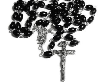 Mens Black Rosary, Wood Rosary, Catholic Rosary, Catholic Beads, Blessed Mother, Scapular Center, Rosary Necklace