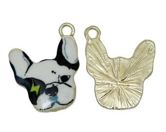 x 1 dog pendant 16 mm black and white enameled metal charm.