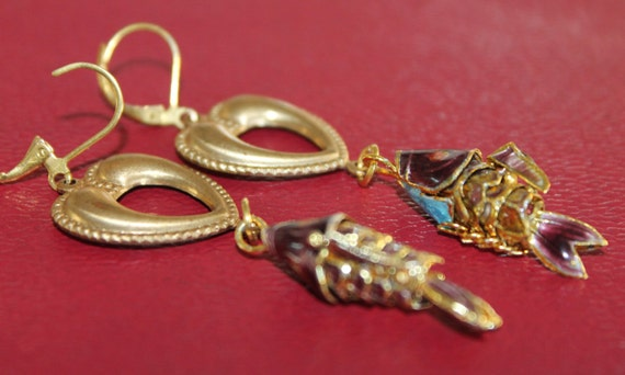 """Dangle Earrings """"Hearty fish"""", cloissone brass assemblage Art Deco, Vintage beads, Bezel crystals, Altered art, Mixed Media, Eclectic, OOAK"""
