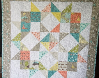 MADE TO ORDER Modern Baby Quilt Crib Cot Blanket Gender Neutral Bluebird Park Fabric Coral Turquoise White Hedgehogs Hummingbird Owls Trees