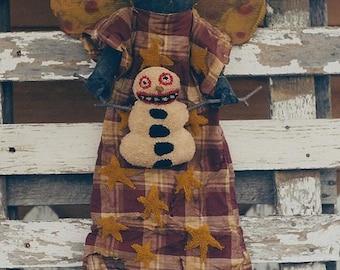 Primitive Christmas Pattern EPattern PDF Black Doll Snowman Needle Punch Punchneedle Angel  by Hickety Pickety 097