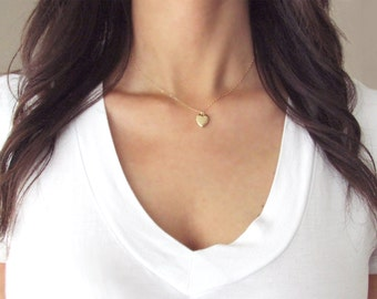 Gold Heart Locket Necklace on Delicate 14kt Gold Filled Chain