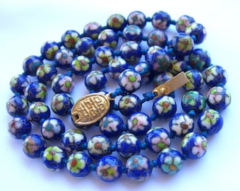 Asian Cloisonne Necklace Hand Knotted Beads Sapphire Blue 1930s Antique Art Deco Jewelry