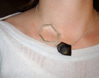 Modern Geometric Necklace, Geometric Jewelry, Faceted Necklace, Sterling Silver, PVC