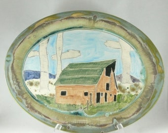 Large Platter with Barn Serving Dish Plate for Turkey Thanksgiving Turkey Platter Ceramics and Pottery 9th Anniversary Gift Farmhouse Decor