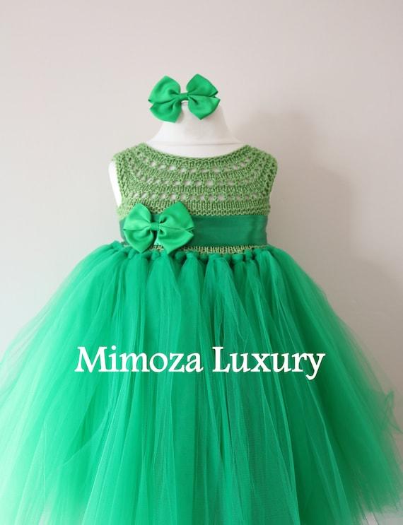 SALE size 12-18m, Ready to ship, Birthday dress tutu dress,  bridesmaid dress, green princess dress, crochet top tulle