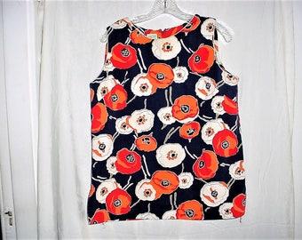 Vintage 60s Mod Flower Print Mini Tunic Top Dress M Navy Blue Orange