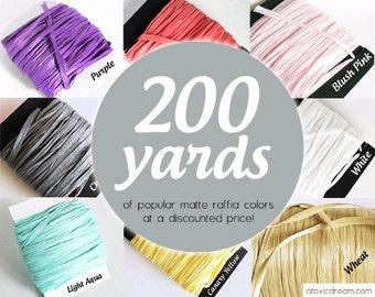200 yards Bulk Raffia Ribbon - Choose your Color - Weddings Formal Events