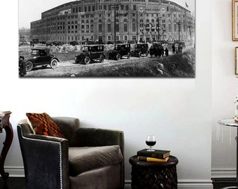 1920's Yankee Stadium Canvas Art Print Yankee Stadium Black and White   Large 36 x 24