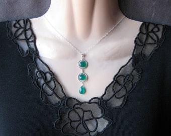 Triple Drop Necklace- Silver, Green Onyx, Gemstone Trio, Wire Wrap