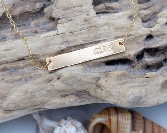 Personalised Gold Bar Necklace - SImple necklace, Minimal jewellery, Customise, layering necklace, Bride necklace - The Isla Necklace