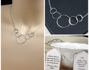 Five Entwined Circle Necklace, Five Circle Linked Necklace, Eternity Circle Necklace, Linked Circle Necklace, Entwined Circle, Gift for Her