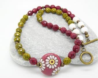 Ceramic Necklace, Czech Glass Necklace, Mulberry Necklace, Chartreuse Necklace, Pink Necklace, Lime Necklace, Bohemian Jewellery, Gift