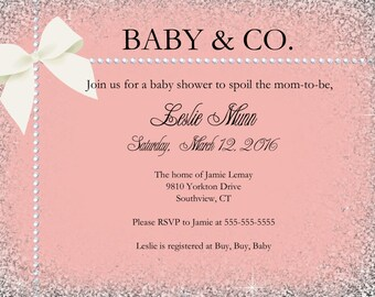 Baby and Co baby shower/ Baby and Co invitation/ Printable Girl Baby Shower/ Printable baby shower invite/ Printable pink shower invitation