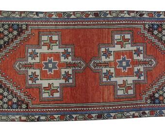 "Vintage Turkish Rug, Hand Knotted Wool Rug, distressed Rug, Hand Made boho Area Rug, Antique Floor orange Rug 3'7"" X 7'7"" (115 Cm x 235 Cm)"