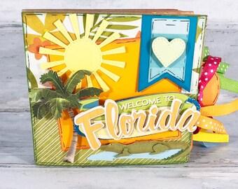 Florida Travel Scrapbook - Mini Travel Scrapbook - Honeymoon Scrapbook - Vacation Scrapbook - Family Photo Album -  Florida Mini Scrapbook