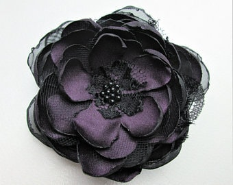 Vintage Inspired Eggplant/Black Organza Flower Hairpiece,Bridal Wedding Hair Flower Fascinator