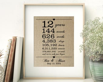 12th Wedding Anniversary Gift for Wife Husband | 12 Years Together | Years Months Weeks Days Hours Minutes Seconds | Personalized Burlap