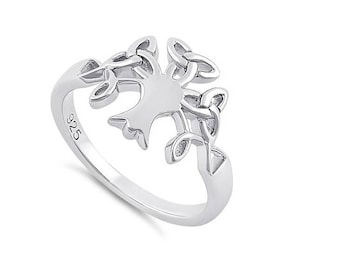 Celtic Tree Of Life Sterling Silver Ring Irish