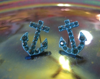 Turquoise Anchor Earrings - Stud Earrings - Rhinestone Anchor Earrings - Beach Earrings - Beach Wedding - Nautical Jewelry