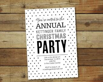 Polka dot party invitation, Christmas party, company party, black and white
