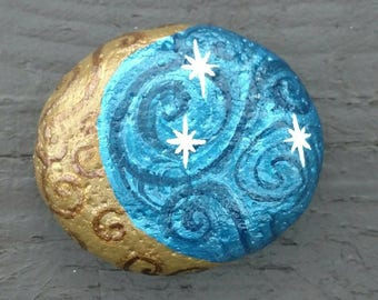 Mystic Moon / swirling night sky / Moon and stars/ hand painted rock/ glitter
