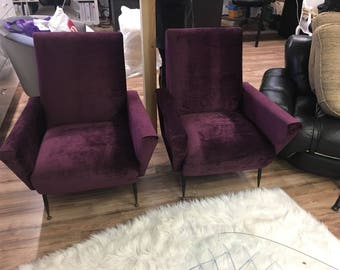Mid century modern occasional chairs ultra violet