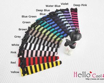 Blythe Pullip Knee Socks with Bow / Thick Black Stripe