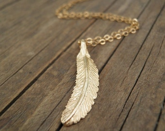 MOTHERS DAY SALE Feather Jewelry Long Gold Necklace Gold Feather Necklace Minimalist  Pendant Charm Pendant Delicate Gold Filled Necklace