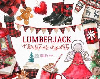 Christmas clipart. Watercolor Christmas clipart. Watercolor Christmas. Watercolor clipart. Buffalo clipart. Lumberjack clipart.