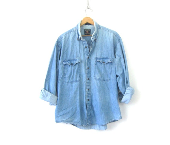Faded 90s Jean Shirt Worn In Denim Shirt Button Up Oversized Distressed Bleached Jean Shirt Pocket Oxford Shirt Mens Chap's Shirt Size XL
