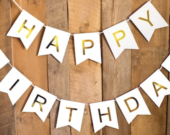 Happy Birthday Banner - White and Gold Foil - Birthday Decorations