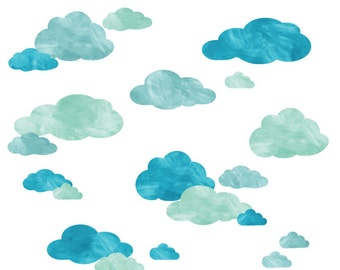 Watercolor Cloud Wall Decals - Cloud Watercolor Fabric Wall Decals