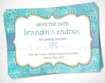 Flip Flops Save the Date Destination Wedding - Turquoise - DIY Printable