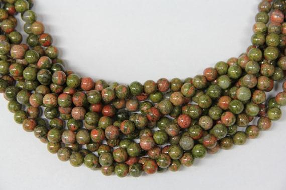 "Unakite 8mm smooth round beads 16"" length full strand"