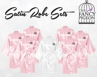 BLUSH SATIN ROBES - Silk Robes for Bridesmaids - Getting Ready Robes - Wedding Robes - Satin Bridesmaid Robes - Bridesmaids Gifts - Kimono